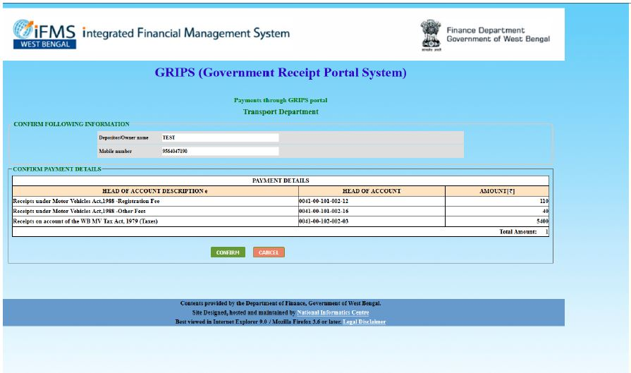 Make of motor vehicle taxes online payment west bengal govt