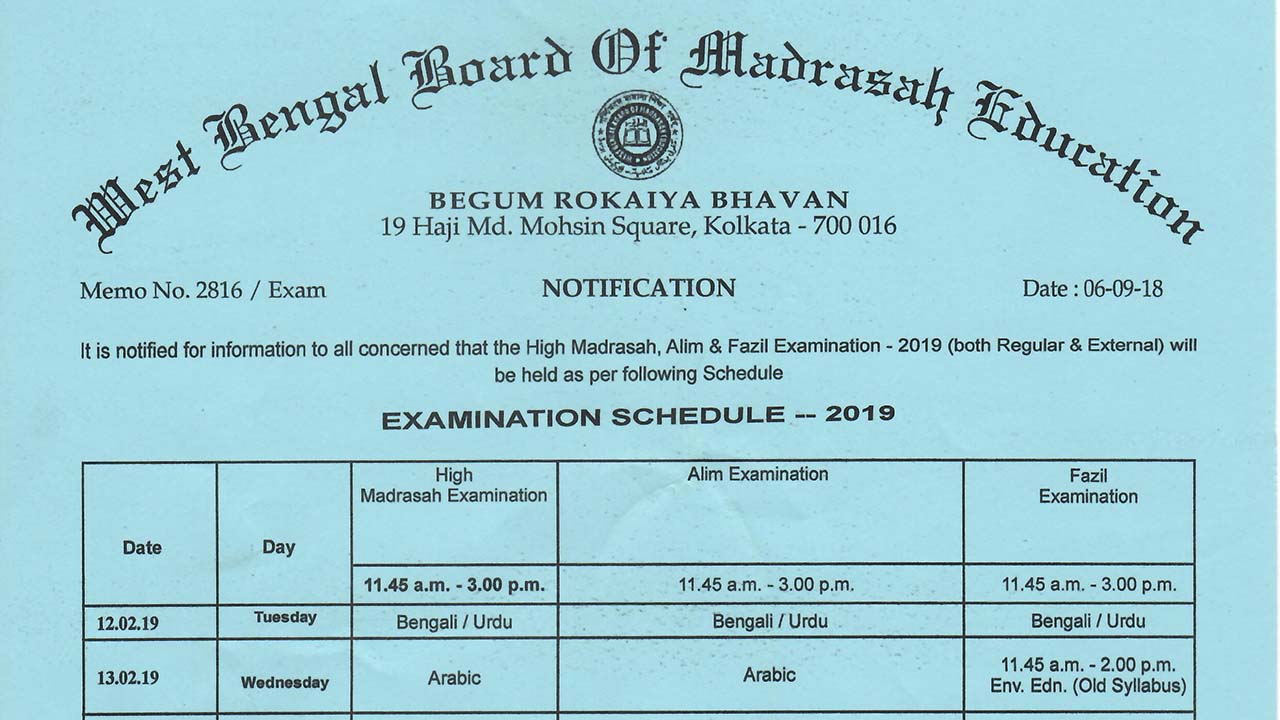 High Madrasah, Alim and Fazil Examination Schedule, 2019