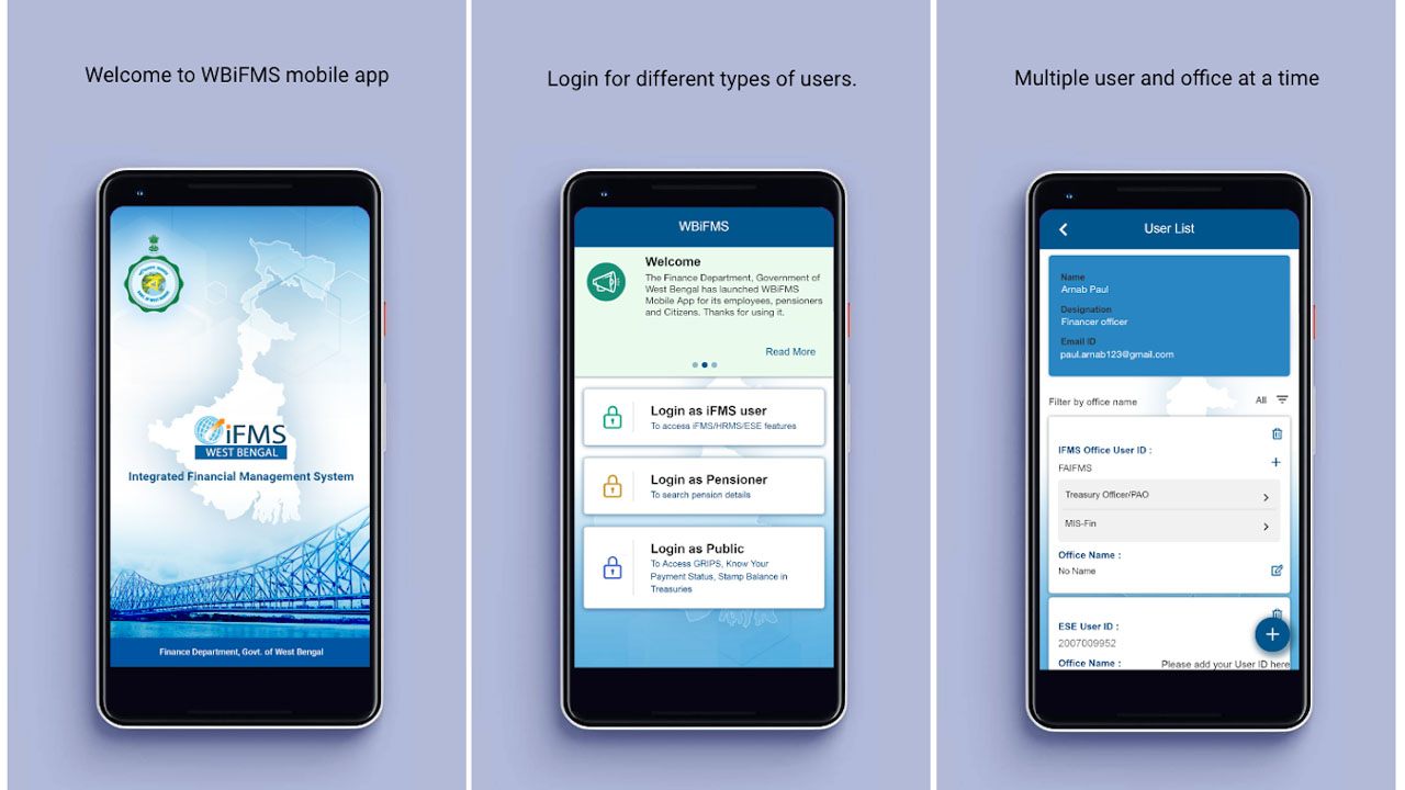 WBIFMS Mobile App for Employees, Pensioners and Public Users